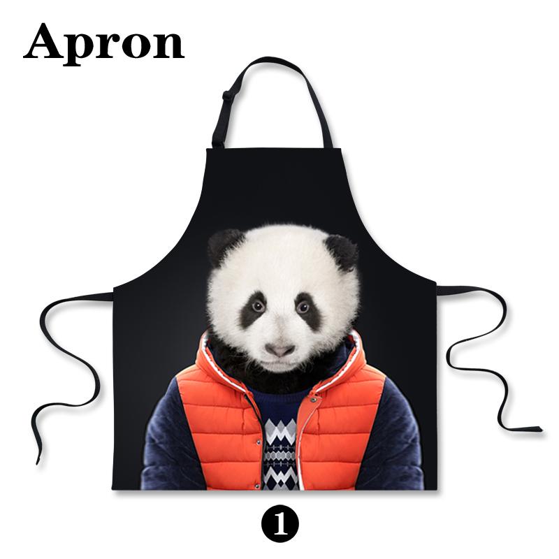 Unique Zoo Animal Bear Print Black Kitchen Aprons Waiter Personalized Aprons For Men Tiger Panda Designer Kitchen Cooking Aprons(China (Mainland))