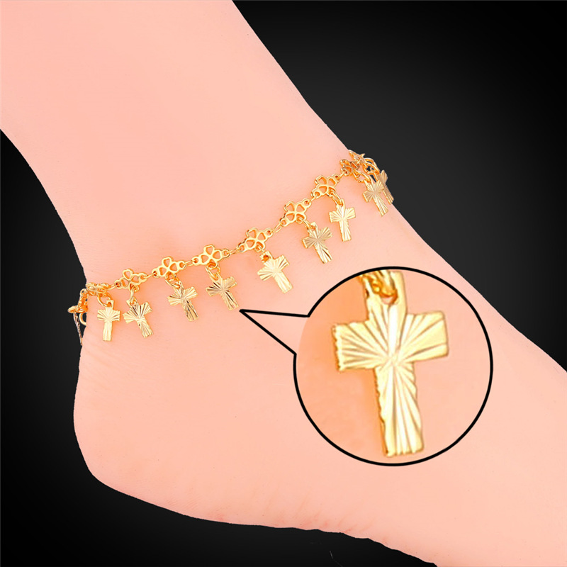 Cross Anklet Bracelet Summer Jewelry For Women Wholesale 18K Real Gold/Platinum Plated Foot Bracelet On A Leg IA934(China (Mainland))