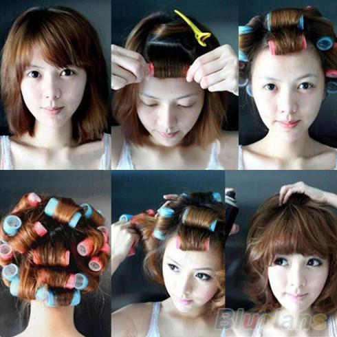 6pcs/set Velcro Grip Cling Hair Styling Roller Curler Hairdressing tool Soft DIY 7 Sizes 0575(China (Mainland))
