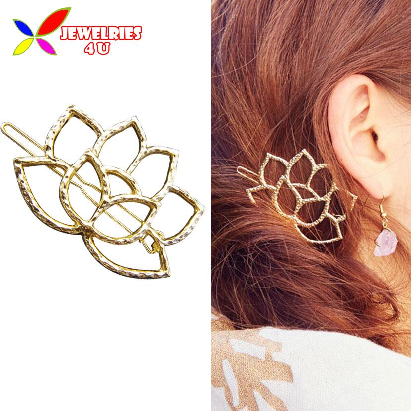 2016 Golden Hairpins Fashion Beautiul Hollow Lotus Hair Clips for Women Jewelry Accessories pinzas de pelo(China (Mainland))