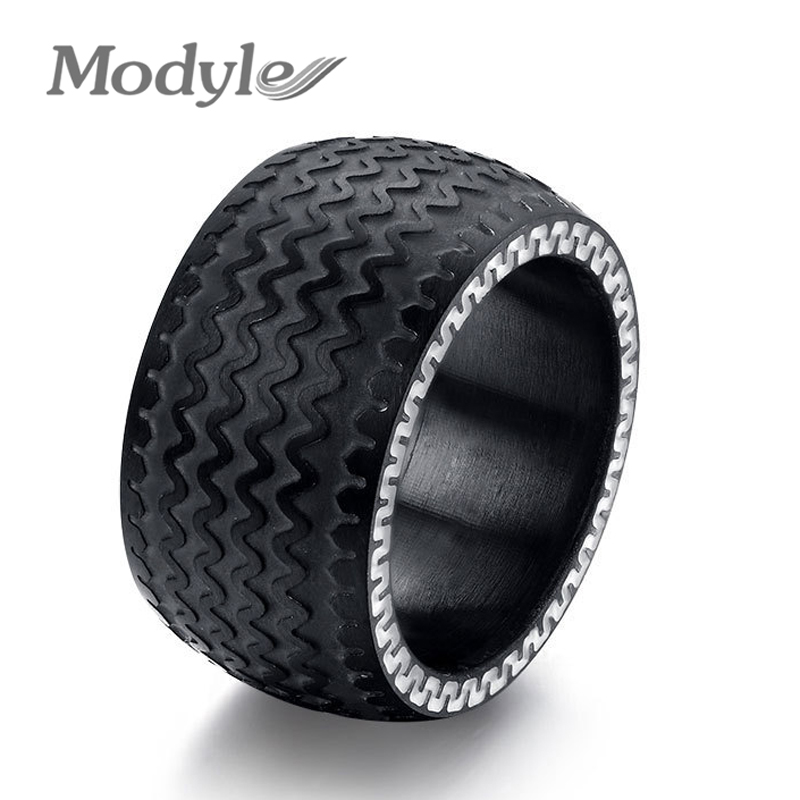 Tire Wedding Rings >> Aliexpress.com : Buy Cool Men Rings Stainless Steel Rings for Men Jewelry High Quality Tire ...