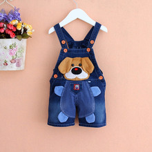 1-3 years old children overalls 2016 summer style boys jeans,animal patterns baby girls clothing,burst models children's clothes