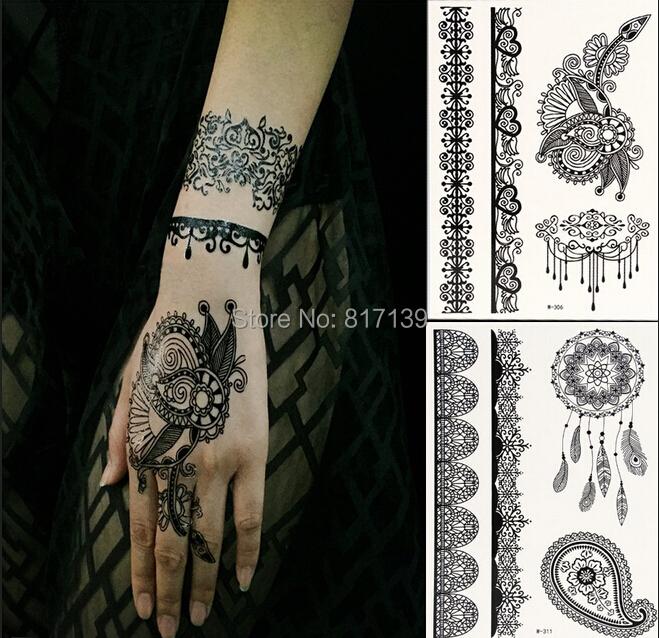 1Sheet Generic Beautiful Black Lace Temporary Tattoos for Adventurous Women, Teens & Girls - India Henna Tattoos Stickers(China (Mainland))