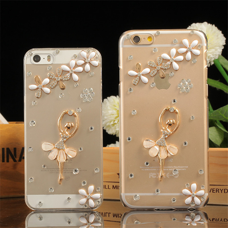 luxury bling flower ballet girl cell phone rhinestone case cover for iPhone 5S 5C SE 6 6S 7 plus high transparent TPU soft case(China (Mainland))