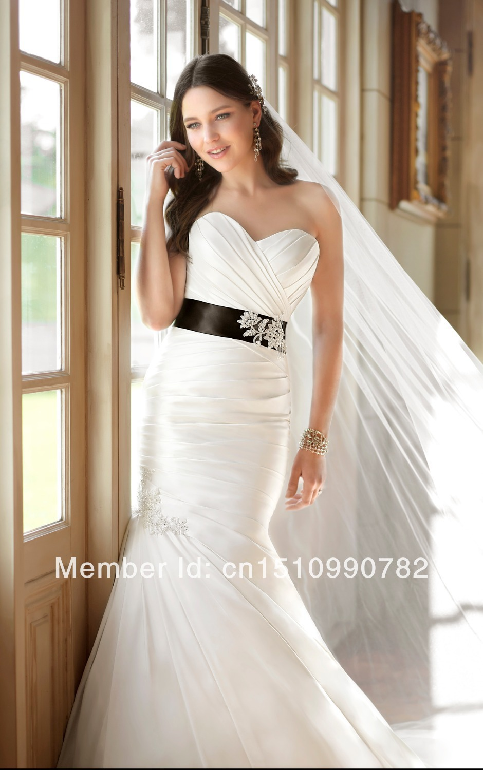 Luxury wedding dresses for young satin wedding dress belts for Wedding dress with black belt