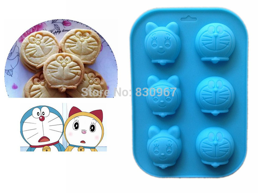 1 piece 6 Holes Famous Cartoon Figure Cat Silicone Biscuit Cake Fondant Chocolate Mold,Cookie Jelly Pudding Soap Mould F020(China (Mainland))