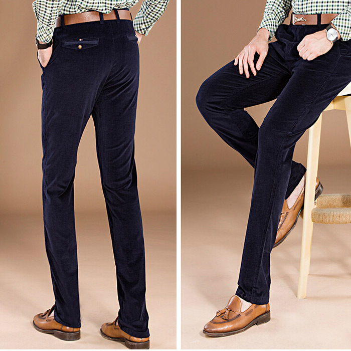 mens navy blue corduroy pants - Pi Pants