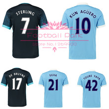 Thai quality 15 16 Premier League soccer jersey AGUERO STERLING home football shirt SILVA DE BRUYNE 2016 away soccer uniforms(China (Mainland))