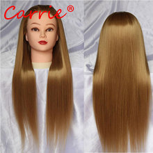 Wholesale head hair with 24″ long brown natural hair mannequin head with hair training mannequin head for hairdressers wig head