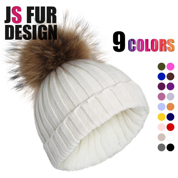 Apparel Accessories Brand Design New Real Fur Beanie For Women Knitting Warm hats With Natural Raccoon Fur Ball Winter Beanies(China (Mainland))