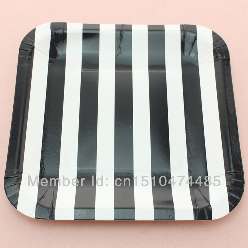 disposable paper dinnerware sets black square 7 striped paper plates
