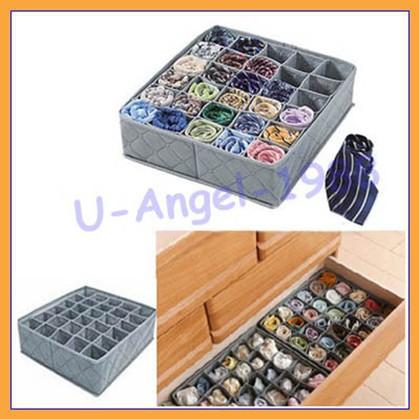 Free shipping+ NEW 30 Cells Bamboo Charcoal Ties Socks Drawer Closet Organizer Storage Box(China (Mainland))