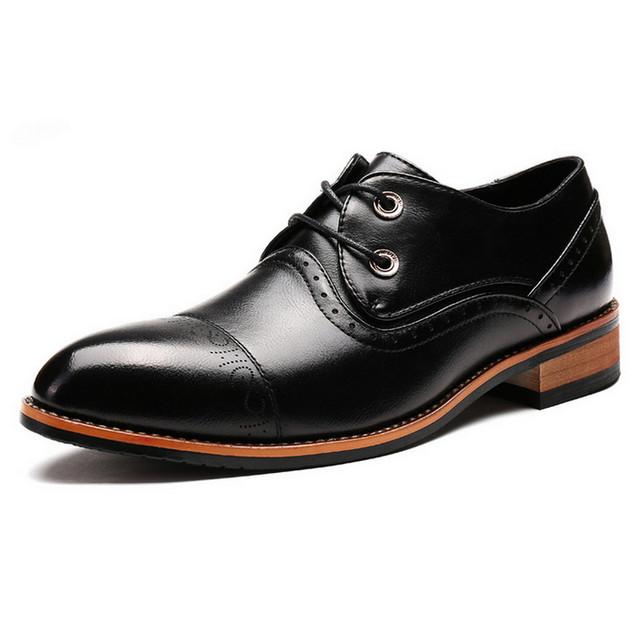 Мужчины Оксфорды Случайные Кожаные Ботинки Мужчины Квартиры Бизнес Мужчины Обувь ...