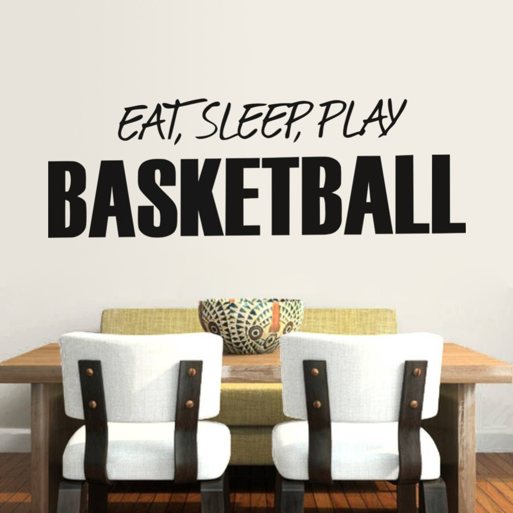 HOT!3d EAT SLEEP PLAY Basketball wall sticker quotes Art Home Decor Art Decals Kids Boy Room Decor wall stickers for boys rooms(China (Mainland))