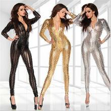 Buy sexy Lingerie Sexy Body Suits Women PVC Erotic Leotard Costumes Latex Bodysuit Catsuit women leather dresses size M XL 2XL