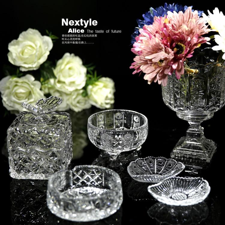 High transparent glass imitation bohemia crystal soap box ashtray candy jar snacks cylinder vase(China (Mainland))