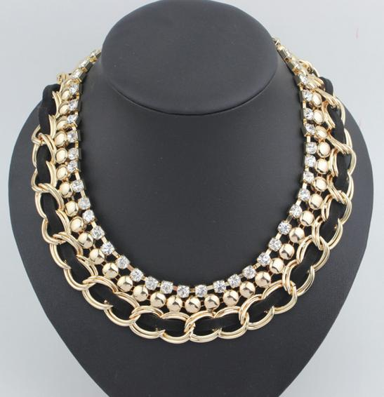 Hot New Fashion choker Short Metal Chunky Necklace Crystal Statement necklaces black ribbon weave Big chains necklaces YN596(China (Mainland))