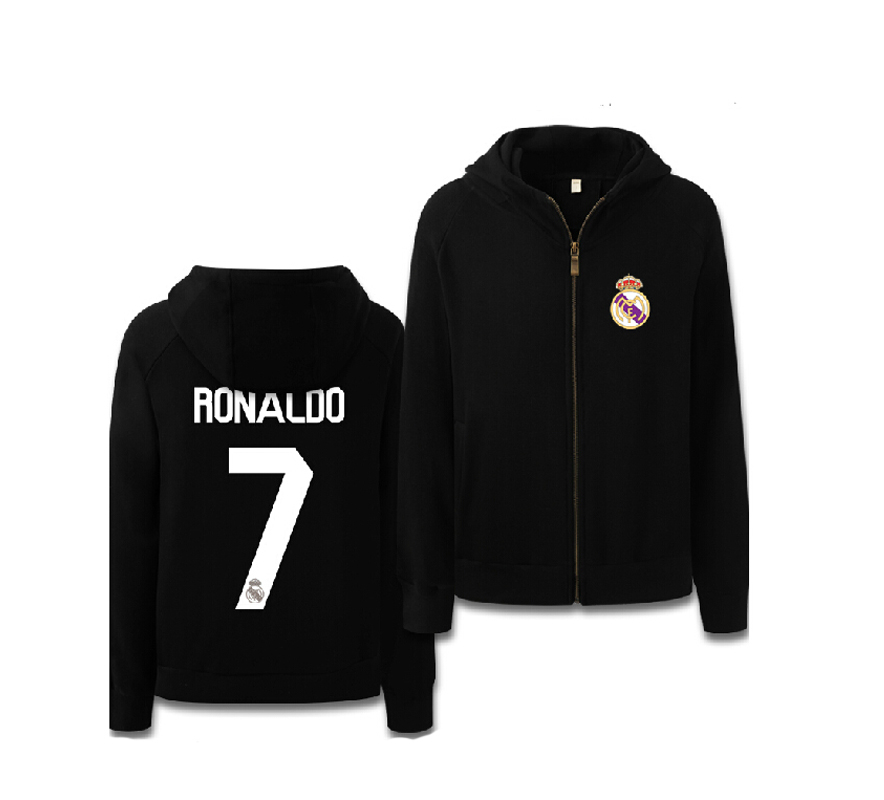 Critiano Ronaldo Sweatshirt Zipper Men Popular Hoodies Winter Color Black Grey Football