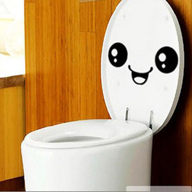1PCS Beautiful Design Smiley Face Funny Toilet Bathroom Decal Seat Decor Removable DIY Wall Stickers On The Toilet 3d Vinyl Wall(China (Mainland))