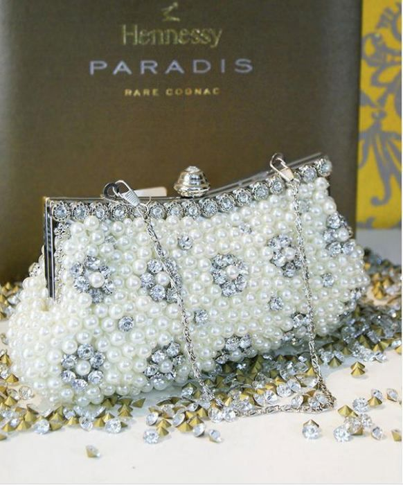 Vintage Pearl Court Shell Clutch Wedding Bride Bead Evening Bag Purse Chains Party Shoulder&Crossbody Bag NO.B14(China (Mainland))