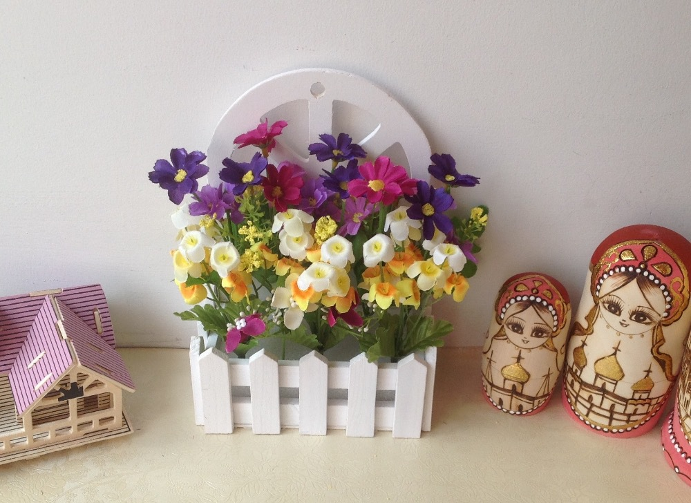 Hanging Wooden Fence Vase With Artificial Flowers Set Fake Flower Arrangement Home Decor Wedding