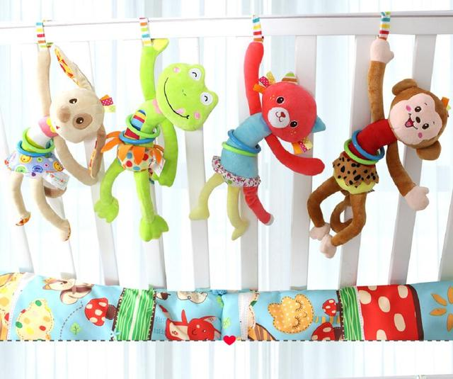Animal Baby Soft Toy Ring Bell Baby Plush Rattle Squeaker  Cute Cartoon  Dog /Frog /Monkey/ cat  Plush pull shock baby Toy