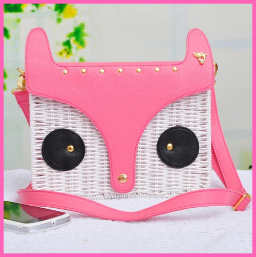 Fashion Handbag straw bag woven rattan bag new beach fox princess schoolgirl Messenger Bag A0136(China (Mainland))
