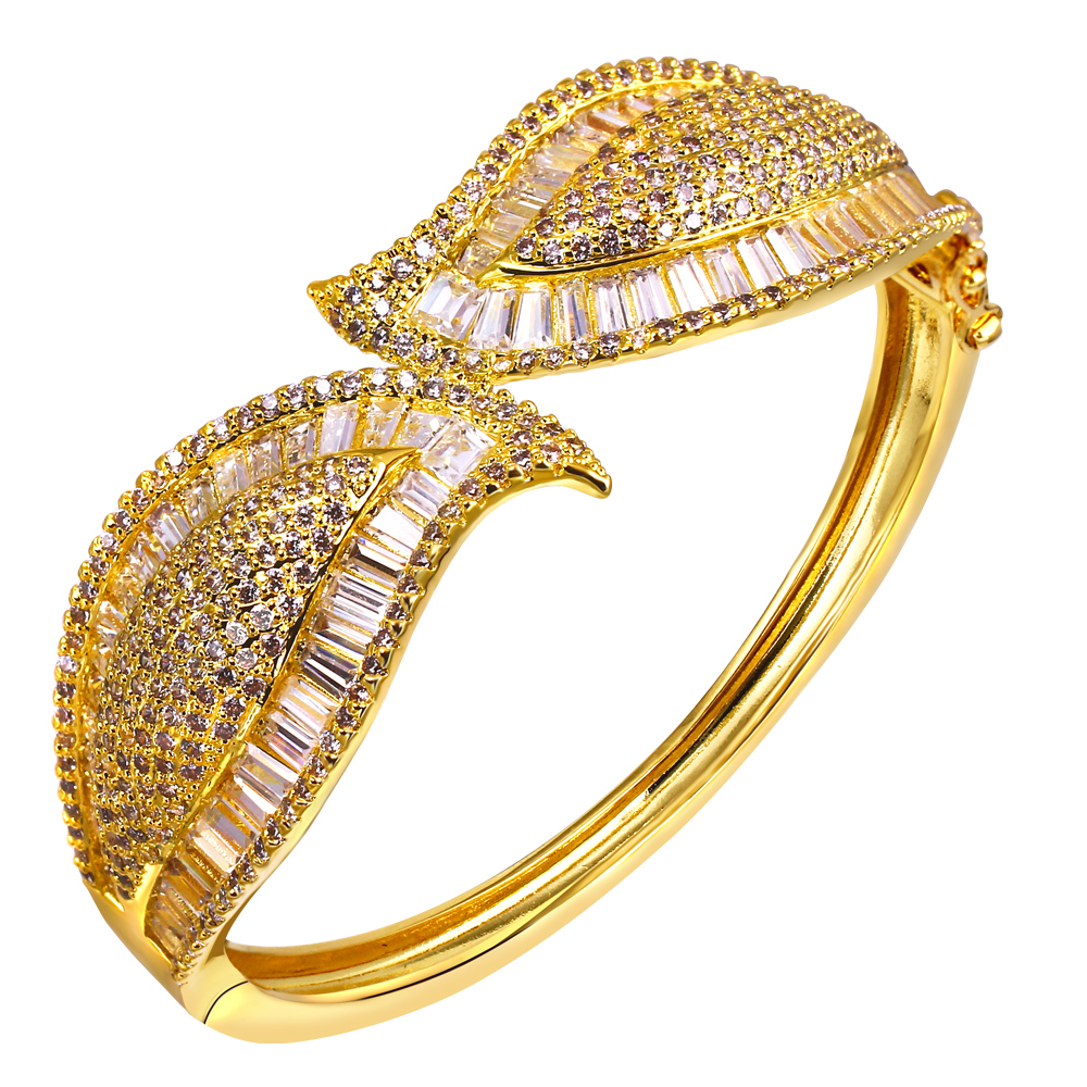 AAA Cubic Zirconia Women Gold Bangles European and American style White Gold Plated Wedding Jewelry Cadmium Free434 pcs of CZ<br><br>Aliexpress