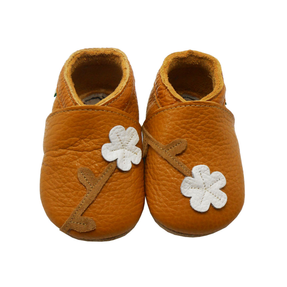 Sayoyo Brand Baby Girl Shoes Orange Flower Infant Toddler Footwear Soft Sole Leather Baby Moccasins First Walker Free Shipping()