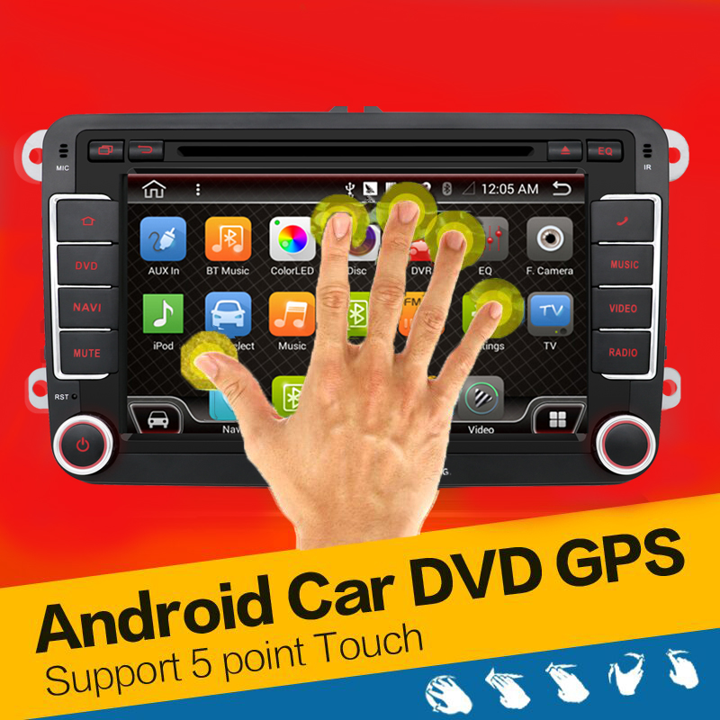 Quad Core Android 4.4 car dvd player gps 2Din 7 Inch For Volkswagen VW Skoda POLO PASSAT B6 CC TIGUAN GOLF 5 Fabia Wifi Cam 1080(China (Mainland))