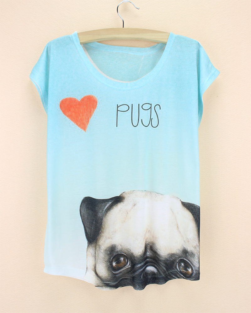 pugs novelty pattern top tees women summer dress girls fashion desigual t-shirt 2015 new arrival clothing wholesale(China (Mainland))