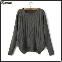 ROMWE Women High Fashion Brand New Loose Casual Round Neck Long Sleeve Plain Grey Cable Knit Crop Sweater Jerseis Mujer(China (Mainland))