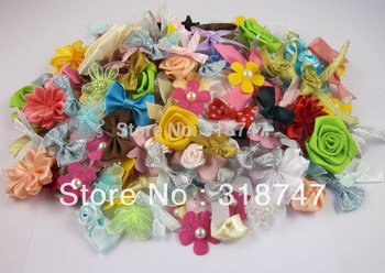 20g (approx 70pcs) Mixed bow/flowers/rosette Girls Boutique Mini Hair Bow DIY Garment Accessories D14020004(HS20g)