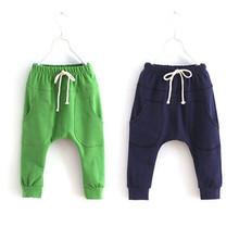 Girl Sports Trousers Toddler Children Jersey Harem Pants Baby Boy Jersey Bottoms 2-7Y.(China (Mainland))
