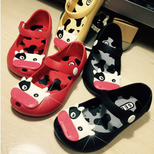2015 Special Offer mini Melissa New children jelly sandals For Baby Summer Sandals cow cattle Toddler Kids shoes PVC size 24-29(China (Mainland))