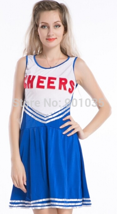 FREE SHIPPING LJ-003 cheerleader costume CHEERLEADER FANCY DRESS OUTFIT WOMENS SPORTS TEAM UNIFORM(China (Mainland))