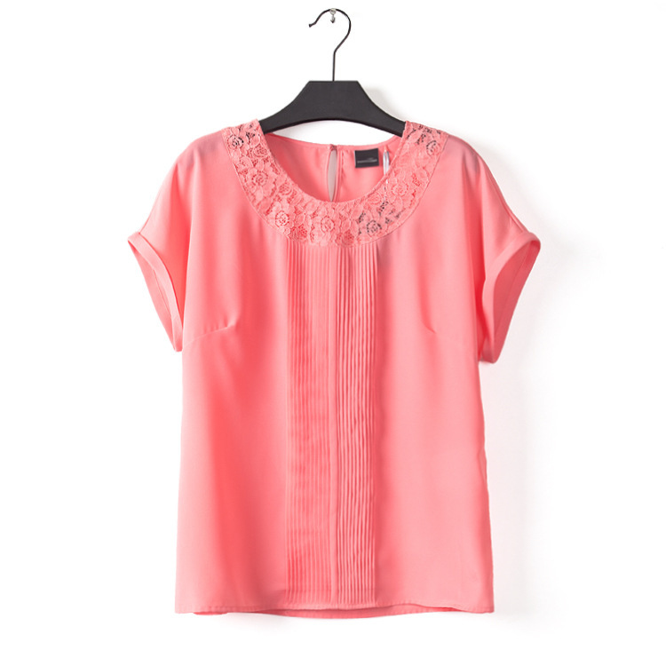 free shipping 2015 new hot sell women summer plus size lace patchwork sexy hollow out t-shirt girl all match chiffon slim shirt(China (Mainland))