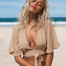 Summer New Beach Wear Women Shirts Casual Blouses Short Striped Ladies Tops V-Neck Blusas beach Sexy Clothing For Womens 2016