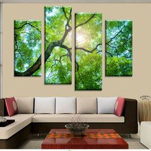 2015 Free shipping 4 Panels Green Tree Painting Canvas Wall Art Picture Home Decoration Living Room Canvas Print Modern Painting(China (Mainland))