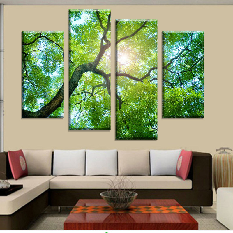 Buy 4 panels green tree painting canvas wall art picture home decoration living - Wall paintings for home decoration ...