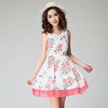 Fashion women's 2015 Flowers Printed Stretch Vest Fit And Flare Dresses