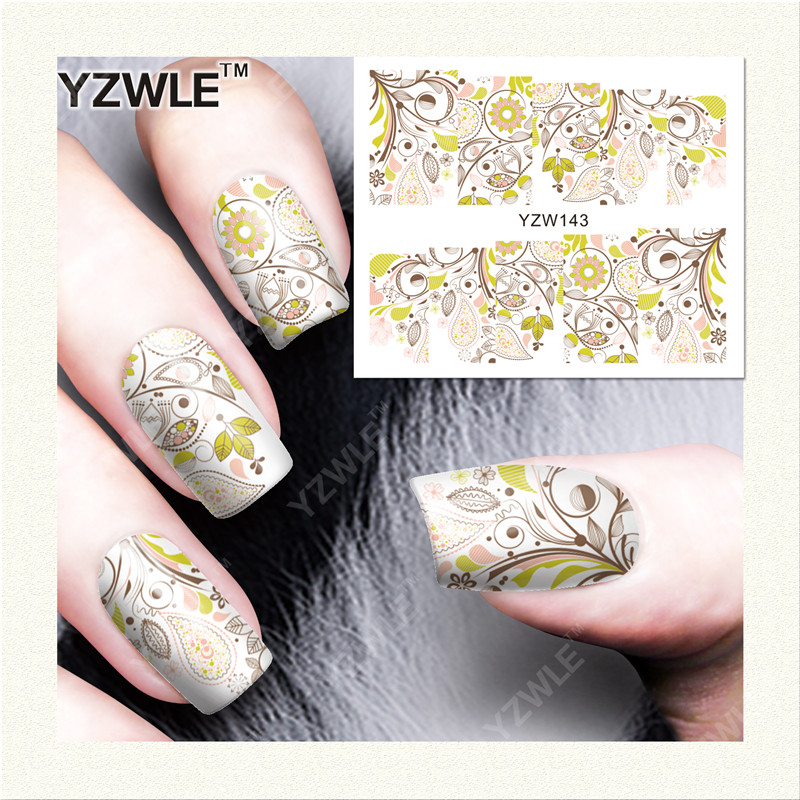 YZWLE 1 Sheet DIY Decals Nails Art Water Transfer Printing Stickers Accessories For Manicure Salon (YZW-143)(China (Mainland))