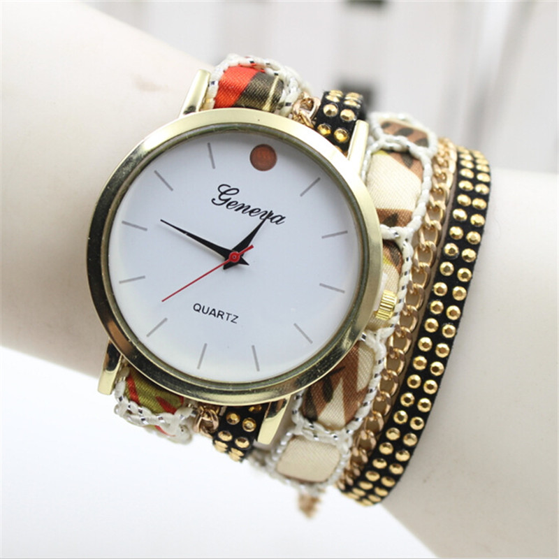 Hot Fashion Popular Printed Leather Strap Bracelet Jewelry Quartz Watch Women Dress Watches Relogio Feminino Wristwatch