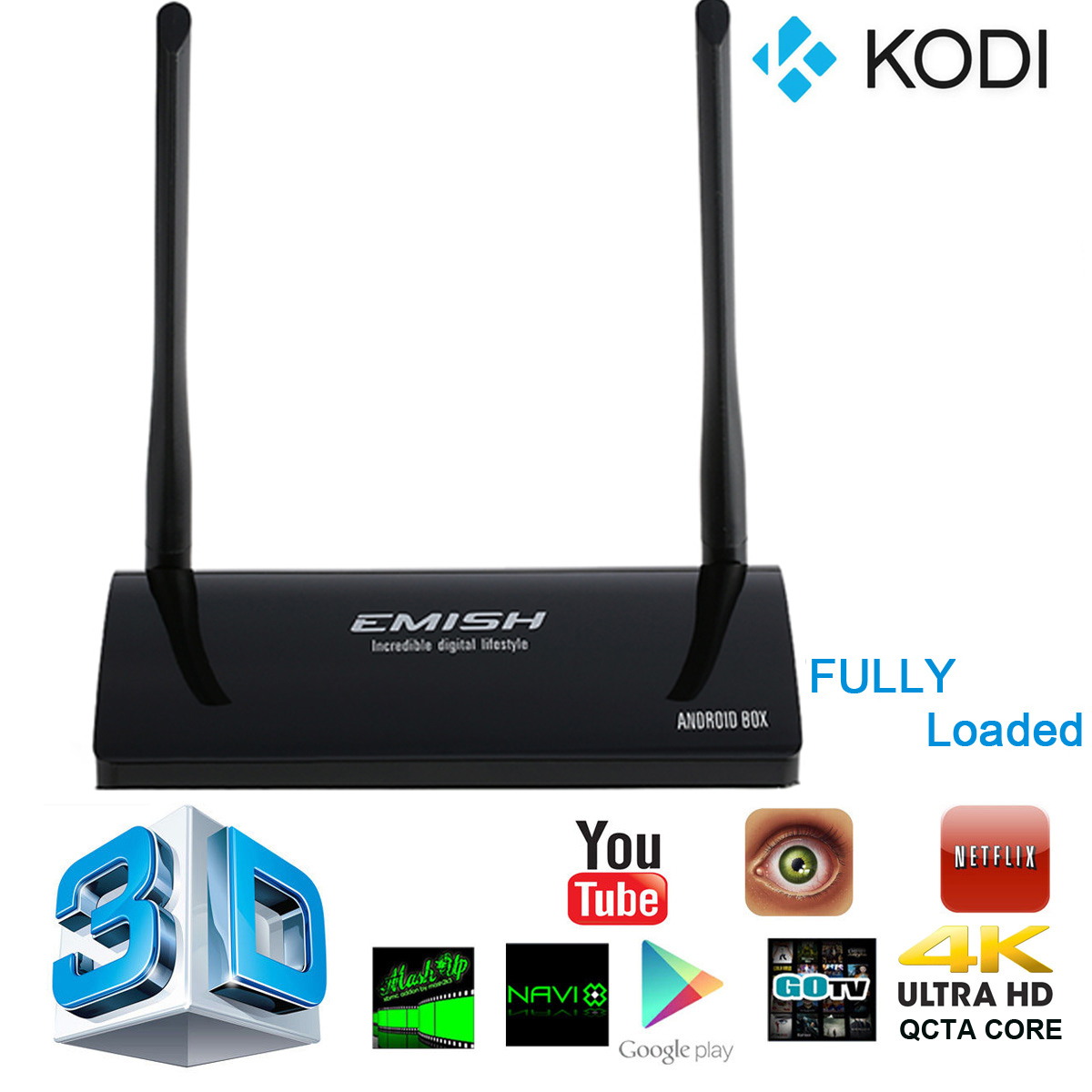 Emish X800 KODI Smart Android 5.1 TV Box 1GB/8GB WIFI Bluetooth 4.0 3368 Qcta Core Fully Loaded XBMC Media Player UK Plug AH109(China (Mainland))