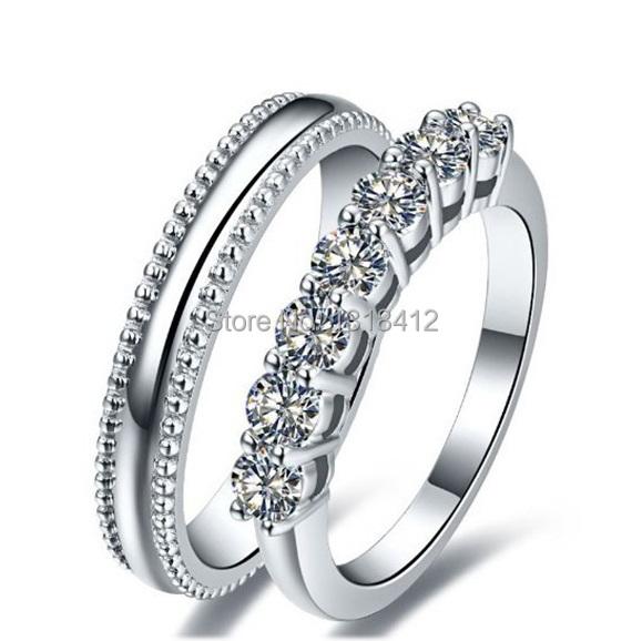2PCS 0.7 Ct bridal set Xmas Gift Sona Simulant Diamond wedding bands gold plated rings Seven Stones setting(China (Mainland))
