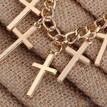 Women Fashion Jewelry Elegant Hollow Yellow Gold Filled Cross Necklaces Pendants 02B1