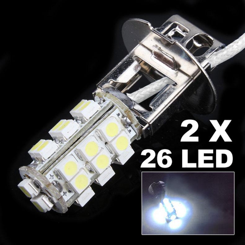 2pcs/lot H3 26 LED 3528 SMD White Car Auto Headlight Bulb Fog Head Light Lamp For DC 12V 3W(China (Mainland))