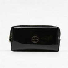 Quality PU leather Zipper Pillow Shaped Brand Cosmetic Bag Make Up Toiletry Bag Cosmetic Pouch Black trousse de maquillage(China (Mainland))