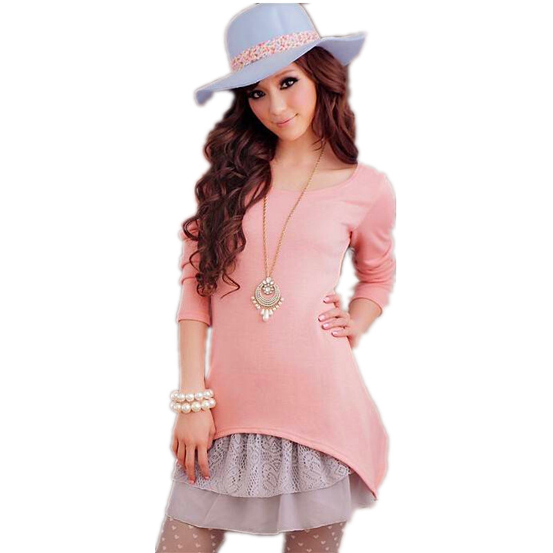 Women Dresses New 2016 Spring Autumn Pink Black Korean Casual Style Clothing Set Cotton Knitted Top And Strap Women Lace Dress(China (Mainland))