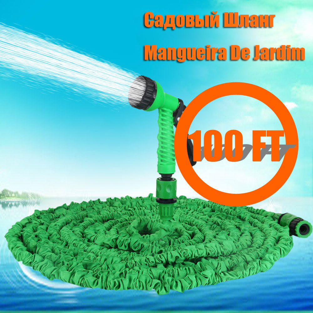 2015 Free shipping 100ft Expandable Magic flexible Hose Water for Garden Car Pipe Plastic Hoses to Watering with Spray Gun Green(China (Mainland))